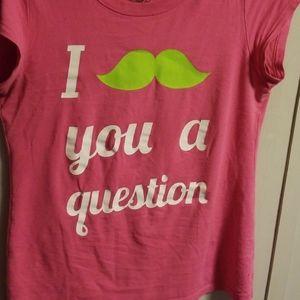 I Mustache You a Question pink tee shirt